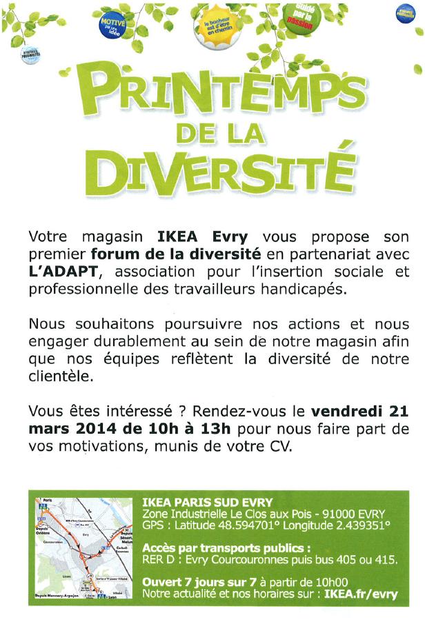 1er forum printemps de la diversit au sein du magasin ikea evry. Black Bedroom Furniture Sets. Home Design Ideas
